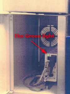 photo of part of the instriment showing the green light.